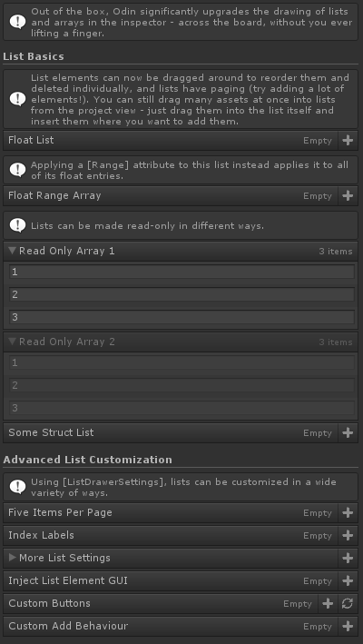 List Drawer Settings Attribute for Unity with Odin Inspector