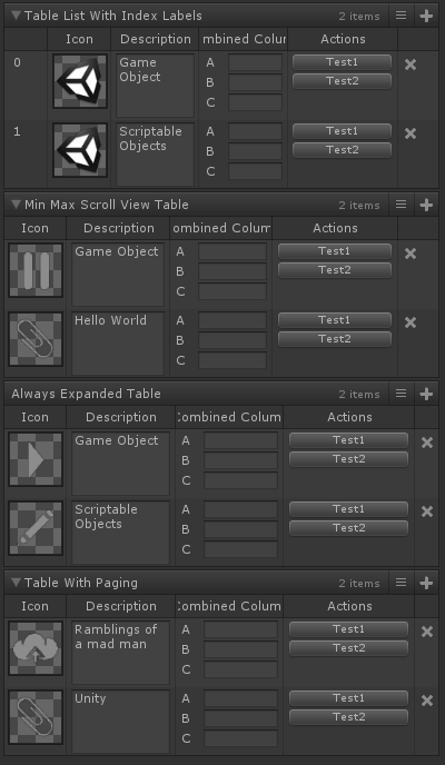 Table List Attribute for Unity with Odin Inspector